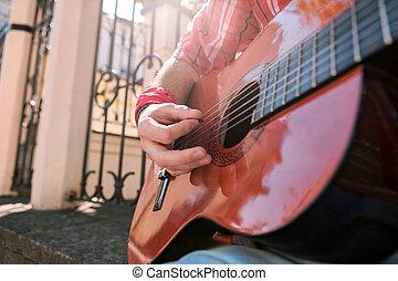 プレーしなさい, 崇拝, 精力的, guitarist, 音楽, マレ