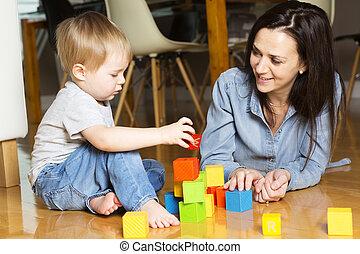 プレーしなさい, 彼の, 息子, 母, 家, ブロック