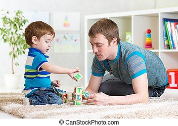プレーしなさい, 彼の, 父, 一緒に, 息子, 子供