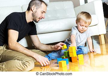 プレーしなさい, 彼の, 父, 息子, 家, ブロック