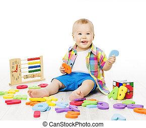 プレーしなさい, 手紙, アルファベット, おもちゃ, 数, 赤ん坊, 教育, 遊び, 子供