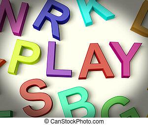 プレーしなさい, 書かれた, 中に, 多彩, プラスチック, 子供, 手紙
