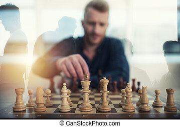 プレーしなさい, 概念, ビジネス, ダブル, 作戦, ビジネスマン, チェス, game., tactic., さらされること