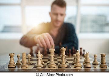 プレーしなさい, 概念, ビジネス, game., 作戦, チェス, 戦術, ビジネスマン