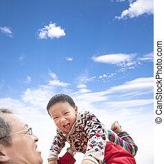 プレーしなさい, 父, 幸せ, アジア人, 子供