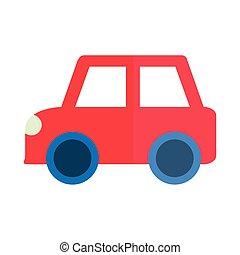 プレーしなさい, 自動車, 平ら, 漫画, オブジェクト, 子供, 車, 小さい, 赤, スタイル, アイコン, おもちゃ