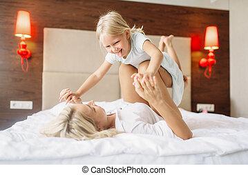 プレーする, 母, ベッド, 子供, 家, あること