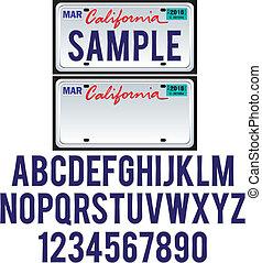 プレート, カリフォルニア, 免許証