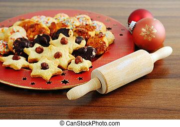 プレート, クッキー, nutes, クリスマス, 甘いもの