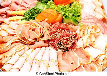 プレート, ソーセージ, 肉, に薄く切る, パーティー, 各種組み合わせ