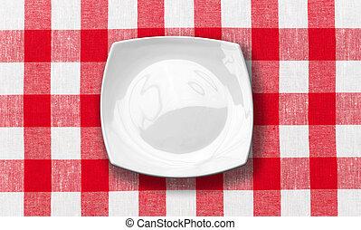 プレート, チェックされた, 生地, テーブルクロス, 白い赤