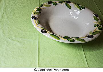 プレート, テーブルクロス, 古い, テーブル