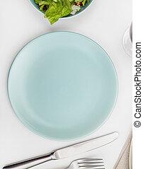 プレート, テーブル, 空, 食事をする