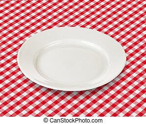 プレート, ピクニック, 上に, チェックされた, テーブルクロス, 白い赤