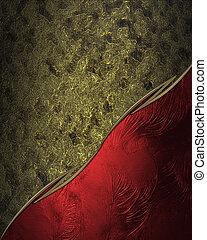 プレート, プレート。, 金, クラシック, 金属, 装飾, サイト, デザイン, template., 赤