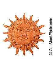 プレート, メキシコ人, 木製である, 太陽, シンボル, mayan, 隔離された, 刻まれた, 白