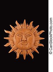 プレート, メキシコ人, 木製である, 太陽, シンボル, mayan, 隔離された, 黒, 刻まれた