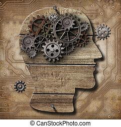 プレート, 作られた, グランジ, 人間の頭脳, 上に, 金属, ブタ, 錆ついた, ギヤ, 回路