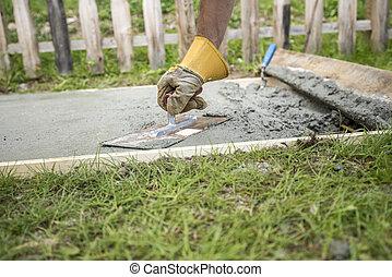 プレート, 保護である, 表面, 平等化, コンクリート, 手袋, 人