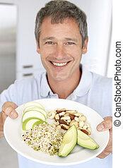 プレート, 健康, 中央の, 食物, 成人, 保有物, 人