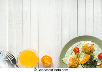 プレート, 卵, 揚げられている, トマト, さくらんぼ
