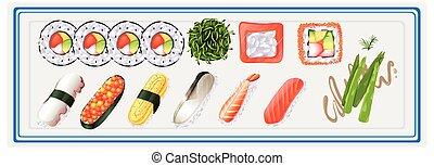 プレート, 寿司, セット, 日本語
