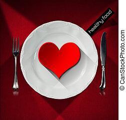 プレート, 心, 健康, -, 食物, 赤