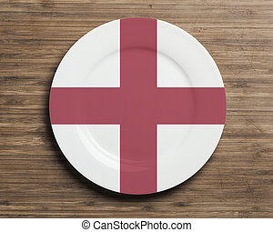 プレート, 旗, イギリス\, テーブル