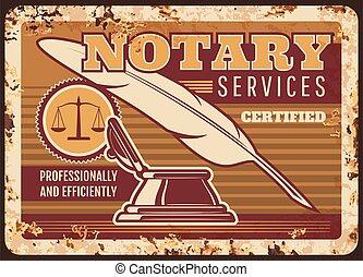 プレート, 法的, notary, サービス, 弁護士, 金属, 錆ついた