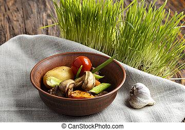 プレート, 焼かれた, 野菜, 肉