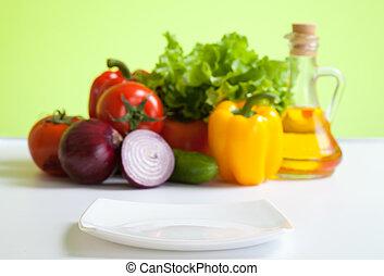 プレート, 生活, 健康, 野菜, 食物, 集中される, 前部, 新たに, 白, まだ