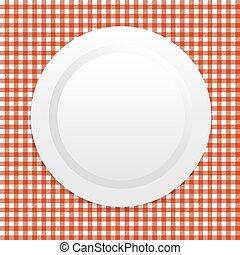 プレート, 白, テーブルクロス, 赤