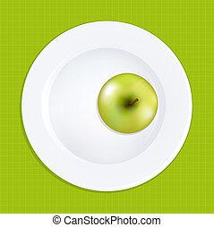 プレート, 白, 緑のリンゴ