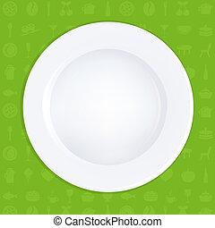 プレート, 白, 緑の背景