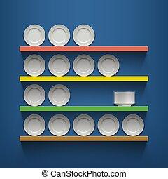 プレート, 白, shelves.