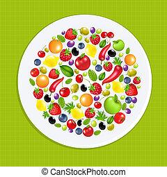 プレート, 野菜, フルーツ, 白