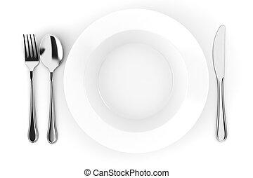 プレート, 隔離された, 夕食, 白, 空, 3d