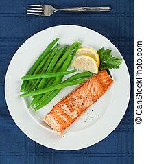 プレート, 鮭, フィレ, 緑, グリルされた, 豆