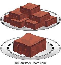 プレート, fudge, ブラウニー, チョコレート