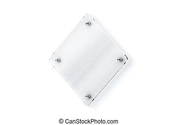 プレート, wall-mounted, の上, ひし形, ガラス, 空白のサイン, mock