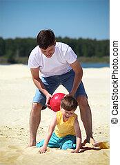 プレーボール, 父, 砂, 息子