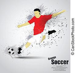 プレーヤー, サッカー, グランジ