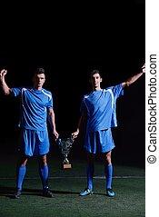 プレーヤー, サッカー, 勝利, 祝う