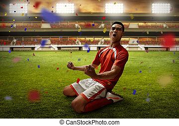 プレーヤー, サッカー, 祝う