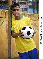 プレーヤー, サッカー, 若い, ブラジル人