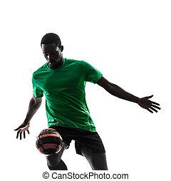 プレーヤー, シルエット, ジャッグルする, 人, サッカー, アフリカ