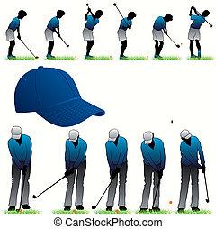 プレーヤー, シルエット, セット, ゴルフ