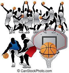 プレーヤー, シルエット, バスケットボール, セット