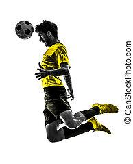 プレーヤー, シルエット, 人, ブラジル人, サッカーフットボール, ヘッディング, 若い