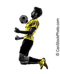 プレーヤー, シルエット, 人, ブラジル人, サッカーフットボール, 若い